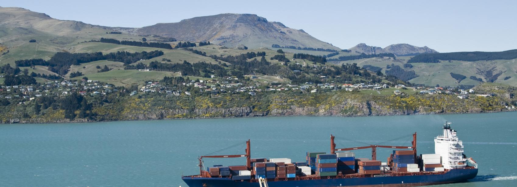 Cargo ship passes town
